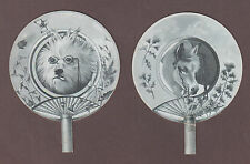 1880 Pair Of Fan Shaped Victorian Trade Cards by Lowell Fantasy Dog w/ Glasses &