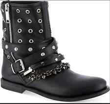 BURBERRY Jude leather Boot Boho Biker Black Leather Grommet Chain Hippy 10 40