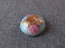 ANTIQUE WEDDING CAKE FLOWERS MURANO GLASS CABOCHON BUTTON HAT PIN TOP
