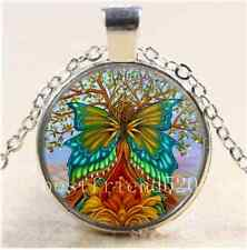 Flower Tree of Life Cabochon Glass Tibet Silver Chain Pendant Necklace#F34