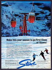 "1969 Stow Vermont Ski Lift Gondolas photo ""Go First Glass"" vintage print ad"