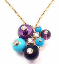 Authentic! Cartier Delices De Goa 18 Gold Turquoise Amethyst Diamond Necklace