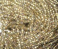 11/0 HANK ANTIQUE BRASS LINED CRYSTAL AURORA BOREALIS CZECH GLASS SEED BEADS