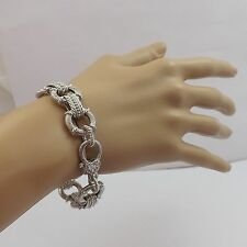 Judith Ripka Sterling Silver Round Textured Link CZ Heart Lobster Clasp Bracelet