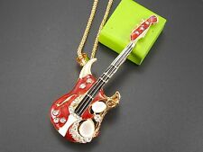 Betsey Johnson Fashion Jewelry Cute inlay Crystal Guitar Pendant Necklace # C287