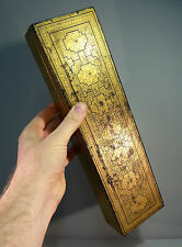Antique Burmese Lacquer Box Gold on Black - Long Glove or Games Box