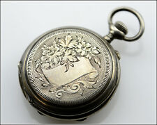 Antique REMONTOIR CYLINDRE 10J Silver Cased Swiss Open Face Pocket Watch, 27.8g