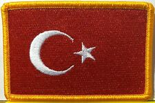 TURKEY Flag Patch With VELCRO® Brand Fastener Military Gold Emblem #5