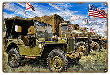 "Reproduction Aged Looking USA Military Jeep Metal Sign 12""x18"""