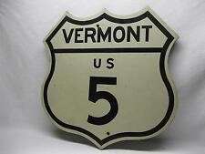 Vermont US Highway 5 Vintage Road Sign Original Used Reflective Plywood Shield