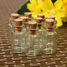 10pcs Mini Small Tiny Clear Cork Stopper Glass Bottles Vials Jars Wholesale FT
