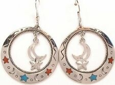 SOUTHWEST GENUINE TURQUOISE CORAL CHIP INLAY MOON AND STAR HOOP DANGLE EARRINGS