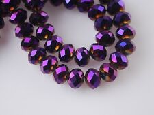 Bulk 72pcs 6mm Rondelle Faceted Crystal Glass Loose Spacer Beads Purple Plated