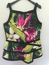 Worthington Sleeveless Peplum Top Orchid Print Sz XXL Tall