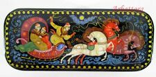 """Russian Lacquer box style Kholuy """"Russian Troika"""" Hand Painted. №221"""