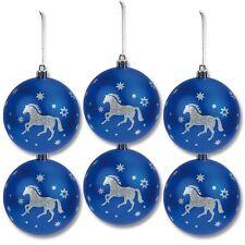 6er Set Weihnachtskugeln, Christbaumkugeln, Pferd Glitter , bruchsicher
