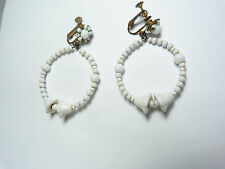 Vintage gold tone metal  milk glass hoop clip on earrings signed Miriam Haskell