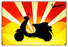 "Reproduction Yellow And Red Vespa Motor Bicycle Sign 12""x18"""