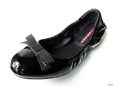 new PRADA black patent leather LOGO bow ballet flats shoes 36.5 US 6.5