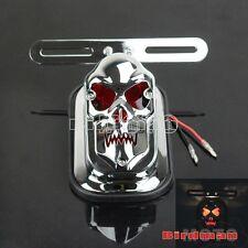 Aluminum 12V Tail Light For Street Bike Scooter Cruiser Bobber Chopper Skull New