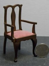 Dollhouse Miniature Armchair Walnut Chair 1:12 one inch scale F34 Dollys Gallery