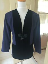 Vintage Yves Saint Laurent jacket size 8 navy wool black velvet