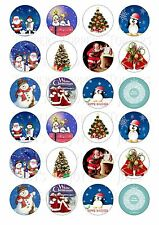 24 CHRISTMAS XMAS CUPCAKE TOPPER WAFER RICE EDIBLE FAIRY CAKE BUN TOPPERS