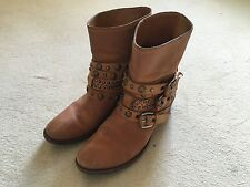 Russell & Bromley Tan Leather Rockafella Ankle Boots, size 5