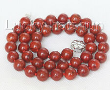 "natural 18"" 10mm round red sponge coral beads necklace 18KGP clasp j10507"