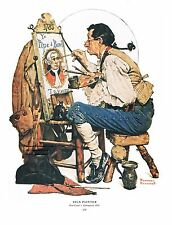 "Norman Rockwell print: ""THE SIGN PAINTER"" 11x15"" Advertising artist painting bar"