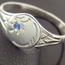 FFS3-5SR AUTHENTIC REAL 925 STERLING SILVER SAPPHIRE SIGNET RING KIDS SIZE K