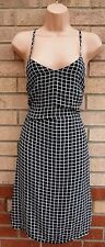 MISSGUIDED BLACK WHITE CHECK TARTAN STRAPPY SMOCK TUNIC SUMMER CAMI DRESS 6 XS