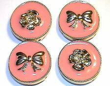 4 - 2 HOLE SLIDER OR SPACER BEADS GOLD TONE PINK/PEACH ENAMEL WITH ROSES & BOWS