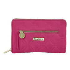 RASPBERRY REBEL MICROFIBER SIGNATURE ZIP WALLET WITH STRAP BY BELLA TAYLOR
