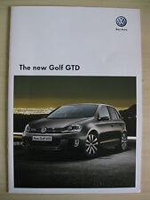 Volkswagen Golf GTD UK Sales Brochure (2009)