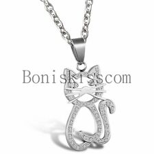 Lovely Cat Heart Charm Animal Stainless Steel Womens Girls Pendant Necklace