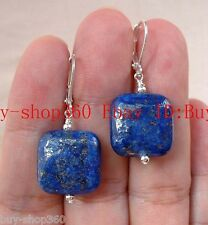 Natural Egyptian Lapis Lazuli Square Gemstone Earrings