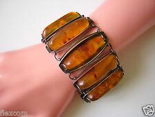 MASSIV 76,2 g ! Antikes Fischland Armband mit Pressbernsteinen 835 Silber Amber