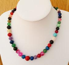Impresionante 6-12mm Collar De Piedras Preciosas De Varios Colores 47cm