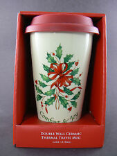 LENOX CHRISTMAS DOUBLE WALL CERAMIC TERMAL TRAVEL MUG 12 OZ (A25)
