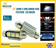 2x 42mm 3 SMD LED 239 C5W Canbus NO ERROR INTERIOR & NUMBER PLATE White Light