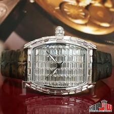 Mens BM Bling Master Curva Hip Hop Watch White Gold Finish Simulated Diamond New
