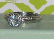 Judith Ripka Sterling 1.00cttw Blue Topaz Solitaire Ring New n Box Size 8 Beauty