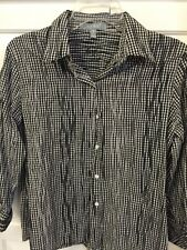 Foxcroft Black & White Striped Long Sleeve Blouse Shirt Size 8 Tucked Fitted