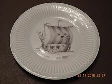 RORSTRAND PORCELAIN SKY BLUE PLATE VIKING LONGSHIP 1000 MADE IN SWEDEN no.501