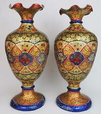 LARGE INDO PERSIAN / KASHMIR Antique LACQUER & VELLUM / HIDE VASES c1900