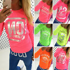 Women Pullover Letter Print Neon Jumper Sweatshirt Tracksuit Top Sweater T-shirt