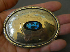 "Turquoise sterling silver shadowbox buckle 2 7/8"" x 3 3/4"" 54 grams"