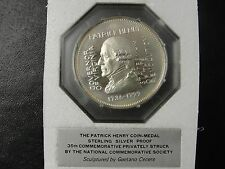 "Sterling Silver Proof ""Patrick Henry"" Medal National Commemorative Society"