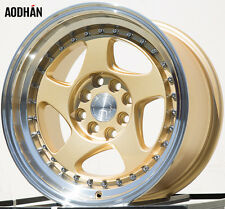 15X8 +20 Aodhan Ah01 4X100 Gold Rim Fit Civic Si Miata Mx3 Integra Mini Cooper